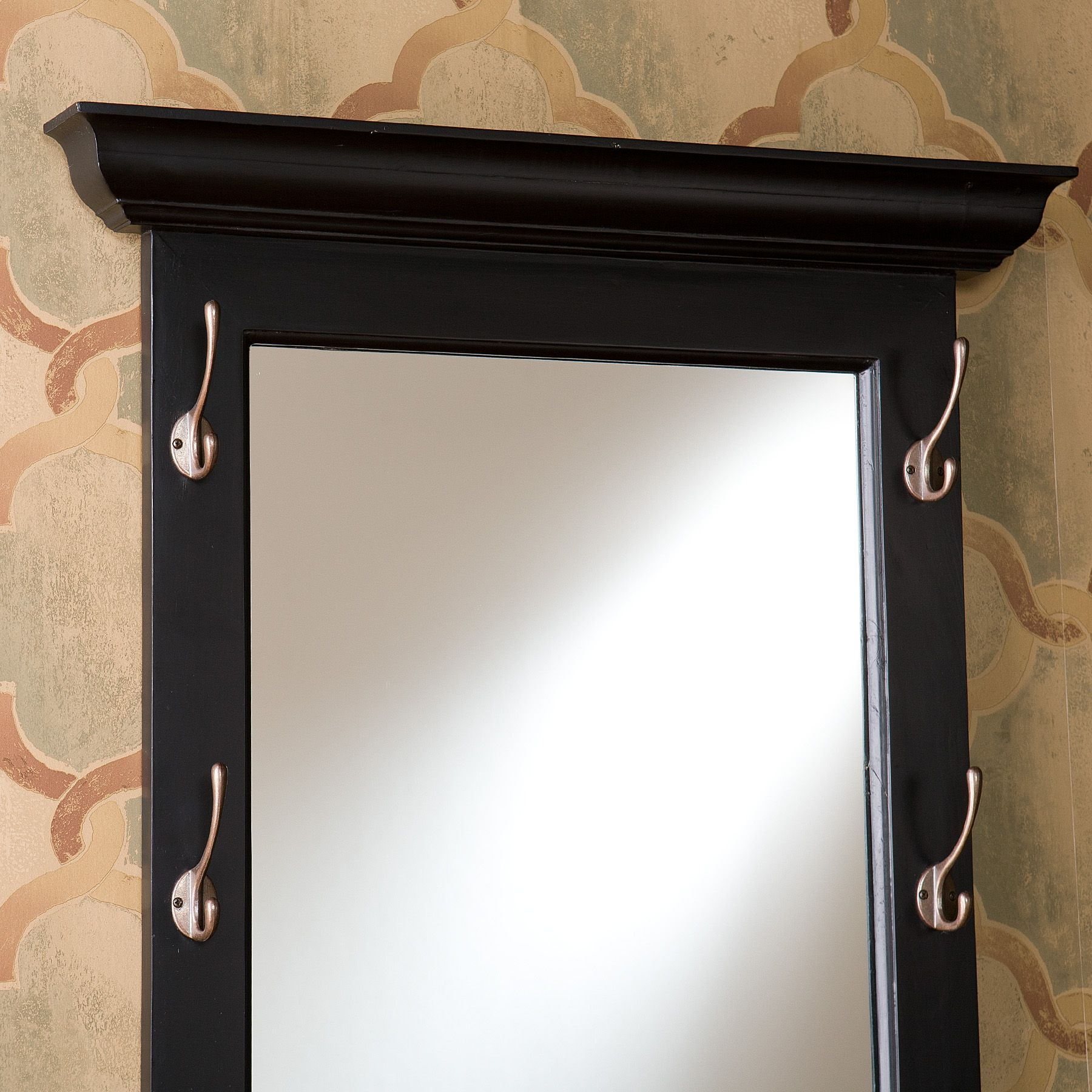Wall Mirror With Hooks southern enterprises paxton black entryway hook mirroroj