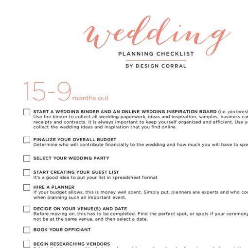 Wedding Checklist PDF Wedding Planning Pinterest Wedding