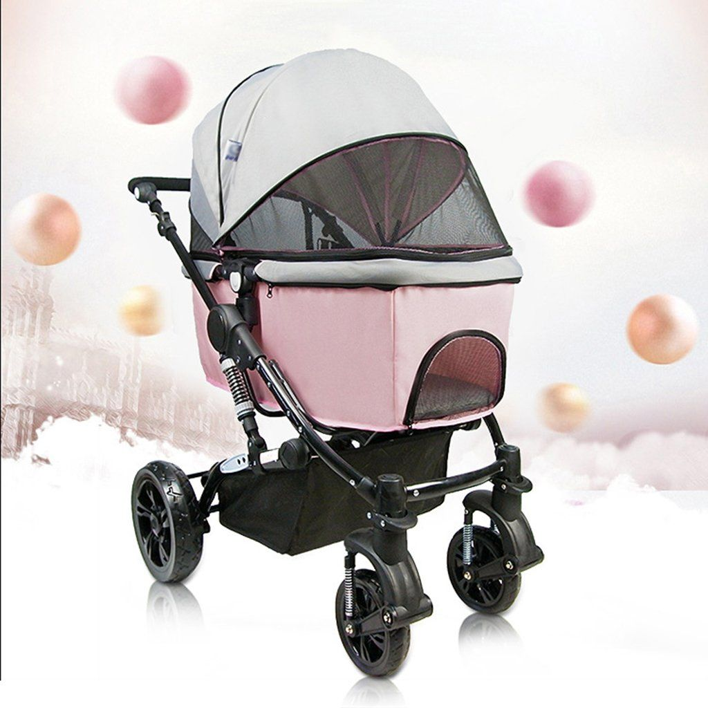 Pet Stroller Folding Removable Four Wheel Travel Carriage