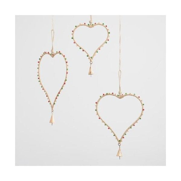 Cost Plus World Market Beaded Jute Heart Hanging Decor Set of 3 ($13) ❤ liked on Polyvore featuring home, home decor, holiday decorations, handmade home decor, cost plus world market and heart home decor