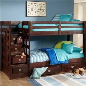 University Ofw Contemporary Twin Over Twin Stair Bunk Bed By Oak