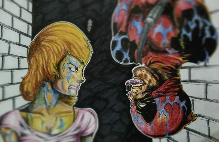 Okaaay finally done... #inktober  day 3! I don't know of i should be happy with the result, i guess i should learn more about coloring.. Anyway, here's deadpool messing around in other superhero's memorable scene... And Mary Jane doesn't look too happy about that either.. #inktober2015  #painting #drawings #deadpool #maryjane #spiderman #marvel #superhero #parody - camsterkicks