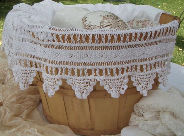 . . . Cabin & Cottage : Bushel Basket Of Beauty-such a beautiful piece of crocheted edge lace...it would look exceptionally grand in a Longaberger basket, too!