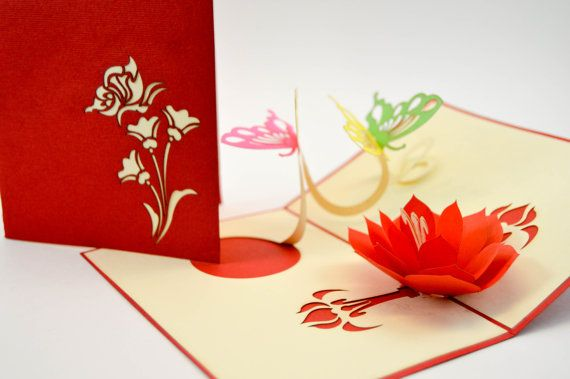 Greeting Card Butterfly  Love Card  Pop Up Card  3D Valentine