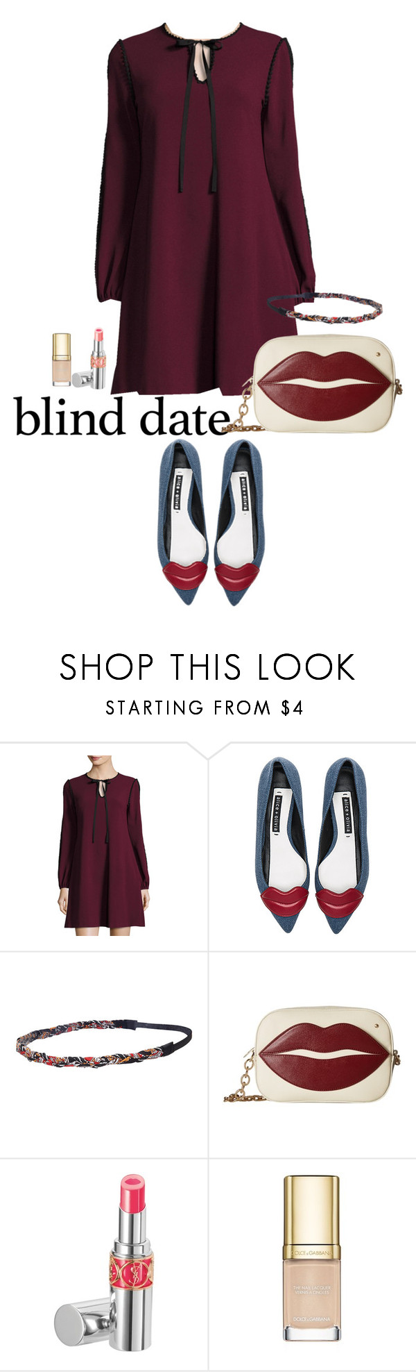 """""""Blind Date"""" by bellamal ❤ liked on Polyvore featuring Taylor, Alice + Olivia, Forever 21, Charlotte Olympia, Yves Saint Laurent, Dolce&Gabbana and blinddate"""