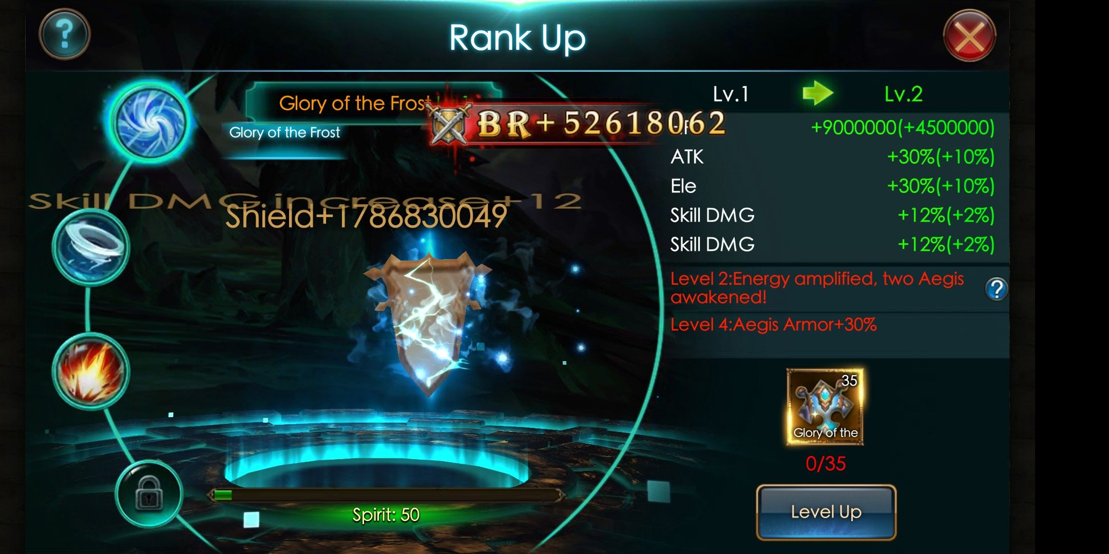 How much BR do you get from activating Glory of the Frost? I