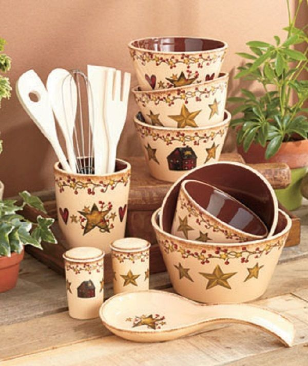 Country Kitchen Set Utensils Storage Star Berries Hearts Rustic