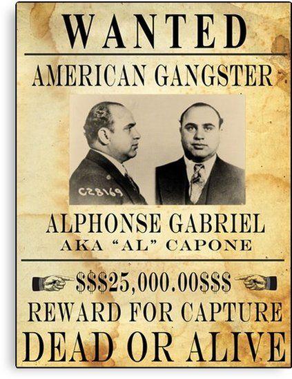 Al Capone Vintage Gangster Wanted Poster Canvas Print By Posterbobs In 2021 Al Capone Gangster Poster Frame
