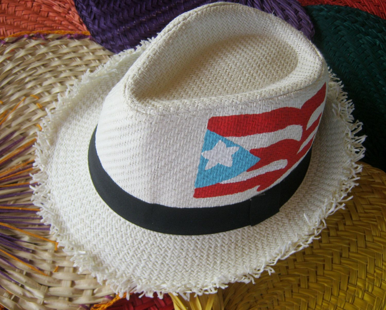 Puerto Rico Flag Hand Painted White Fedora Hat Etsy White Fedora Hat White Fedora Hats