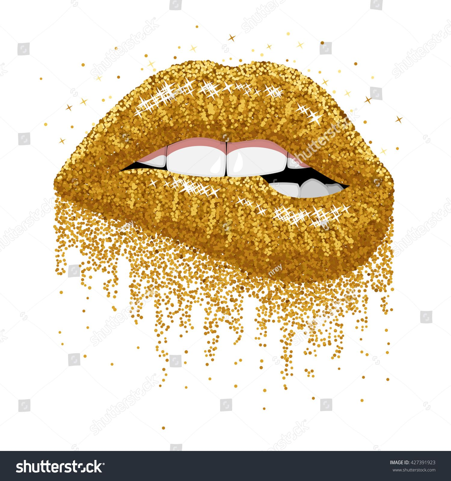 Abstract Gold Lips Open Mouth With Color Paint Flow Glitter