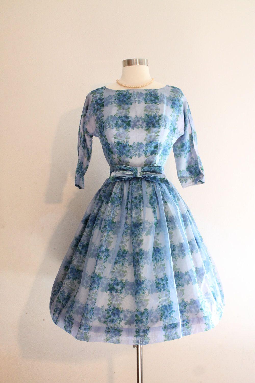 1960s Party Dress -- 60s Vintage Blue & Purple Floral Satin Taffeta ...