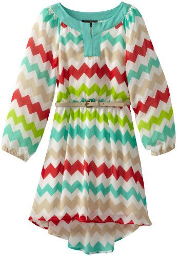 My Michelle Girls 7-16 Long Sleeve Printed Chiffon High-Low Dress ...