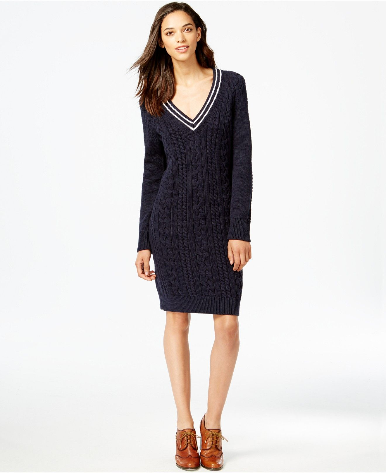 Tommy Hilfiger Blue Patchwork Cotton Knit Sweater Dress