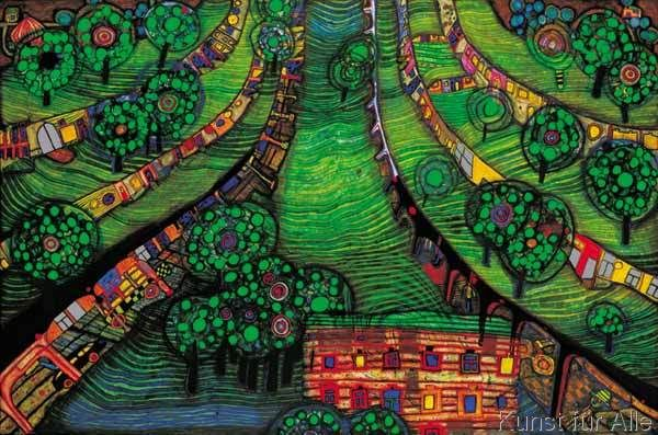 friedensreich hundertwasser gr ne stadt green town art design pinterest blauer. Black Bedroom Furniture Sets. Home Design Ideas