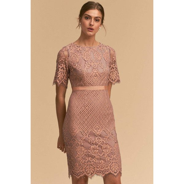 Anthropologie Whitney Wedding Guest Dress 180 Liked On Polyvore Featuring Dresses Orange Scalloped Lace Beige Tail