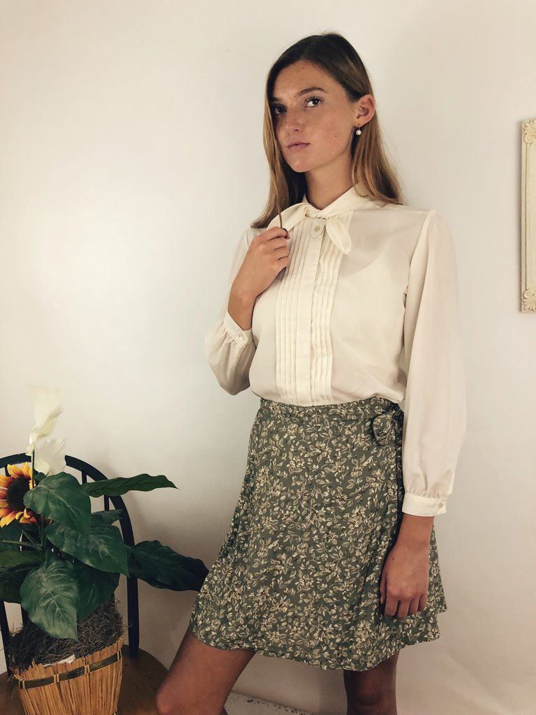 a0074e33c9 Precious little cream blouse with a neck tie and pleats down the front.  vintage outfit inspo, retro style, vintage clothes 90s, vintage aesthetic  fashion, ...