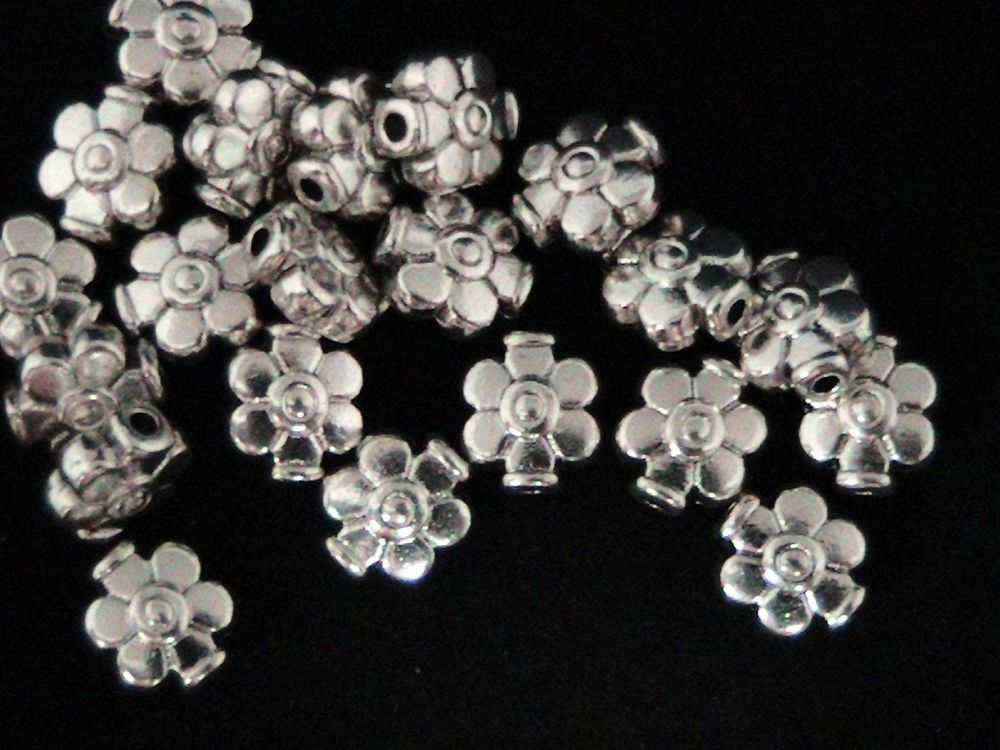 200 x Antique Silver Coloured  6mm Bead Caps Jewellery Findings Craft Beads T167