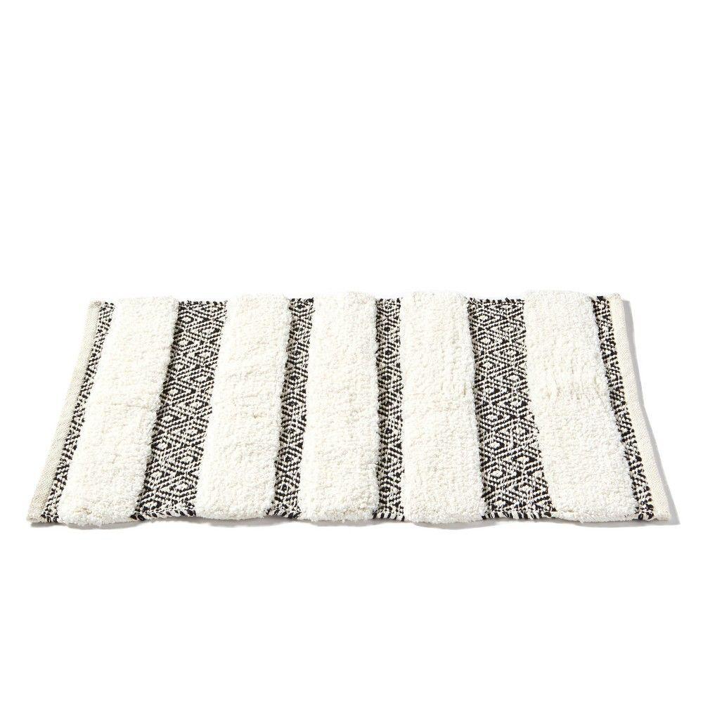 Geo Striped Bath Rug Black White Skl Home Striped Bath Rug Bathroom Rugs Cotton Bath Rug [ 1000 x 1000 Pixel ]
