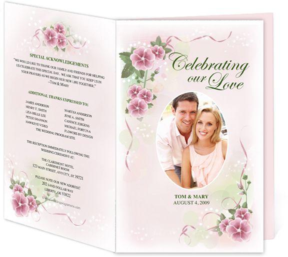 Letter Single Fold  Primrose Wedding Program Templates Edits