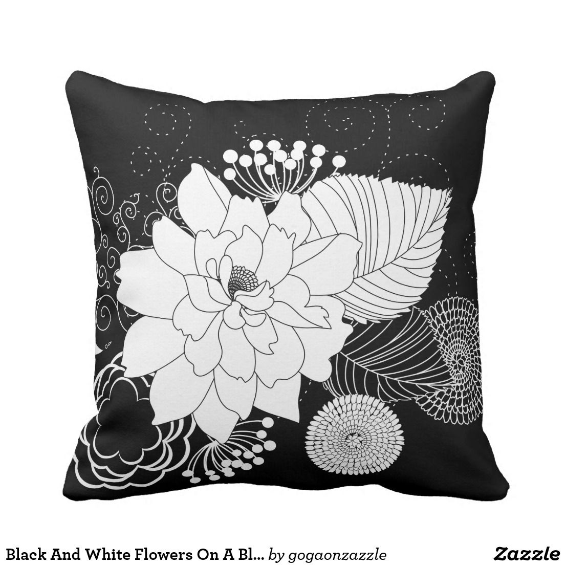 Black And White Flowers On A Black Background Throw Pillow Zazzle Com Black And White Flowers Throw Pillows White Throw Pillows
