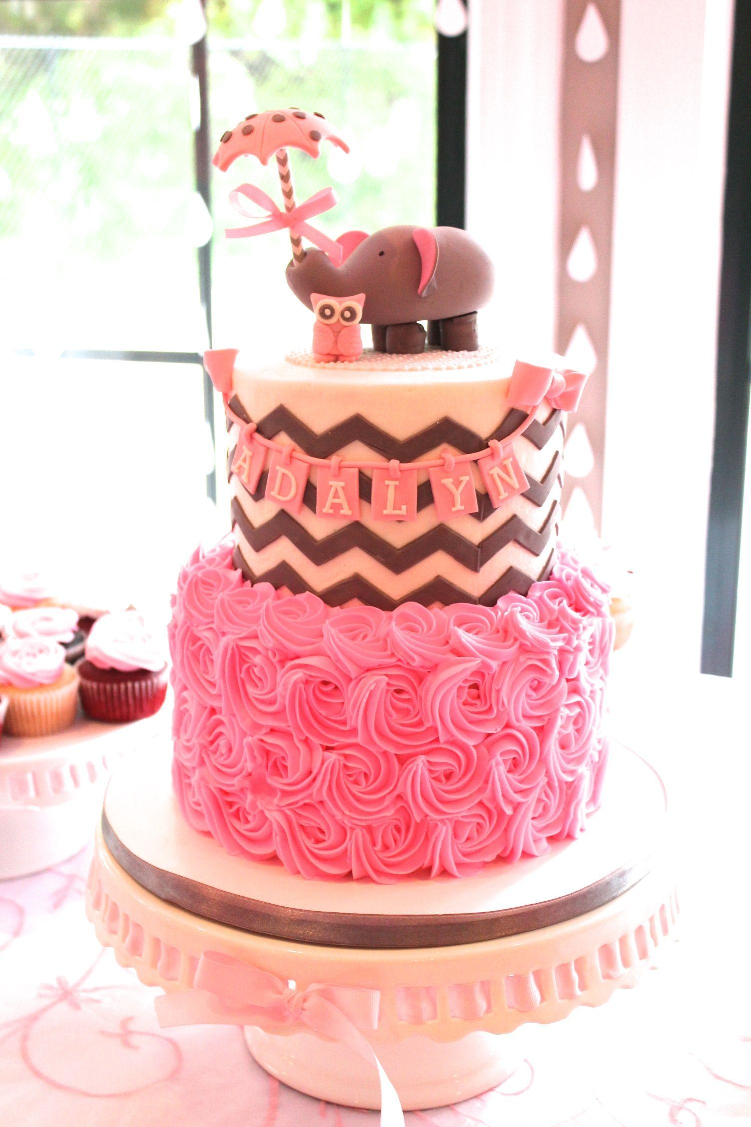 baby girl shower elephant umbrella chevron cake