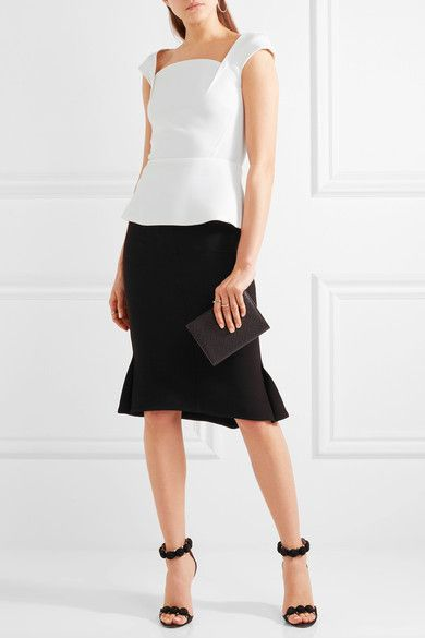 Roland Mouret - Abbey Wool-crepe Peplum Top - White - UK