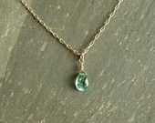 Simple Emerald Necklace, 14K goldfilled, smooth genuine Columbian emerald, natural stone drop, real green emerald jewelry, gift for her https://www.etsy.com/shop/bluegreenjewels