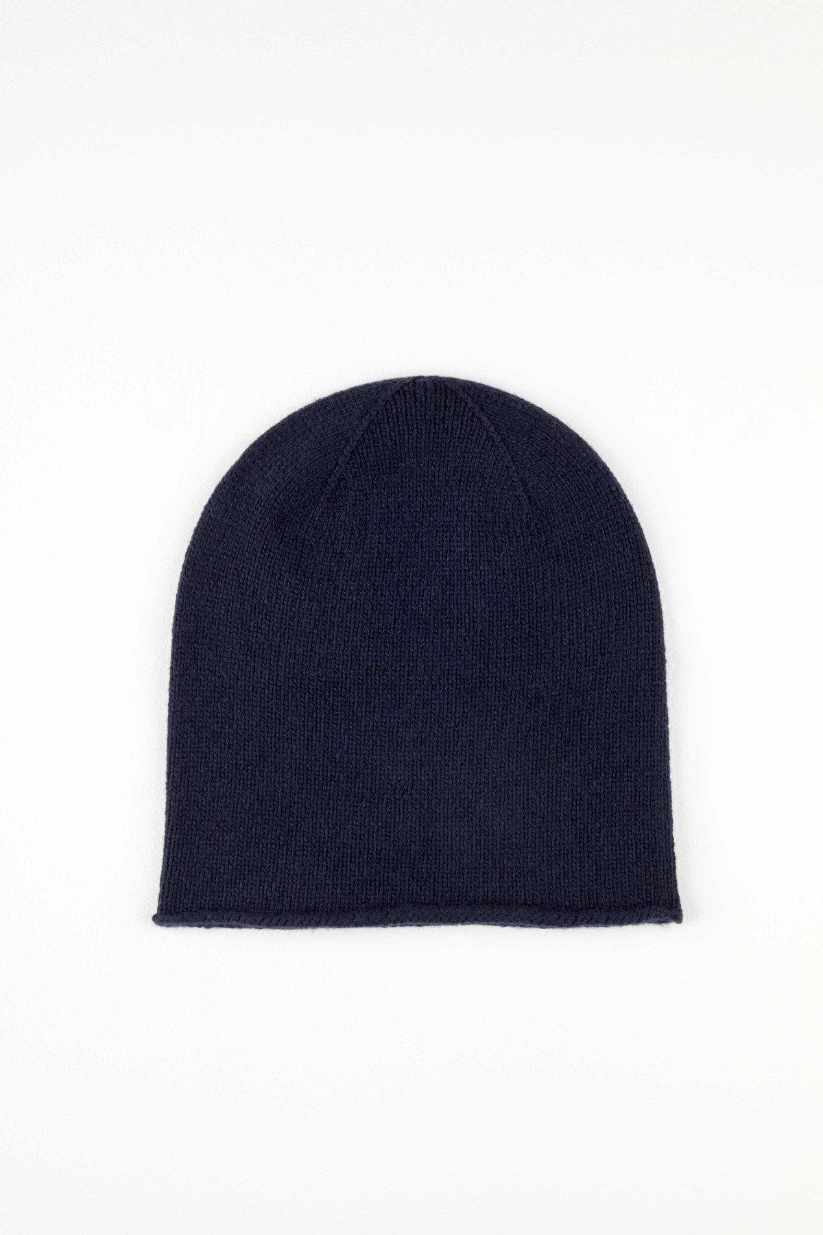 4841a0fe45f Navy Roll Trim Cashmere Hat In Navy