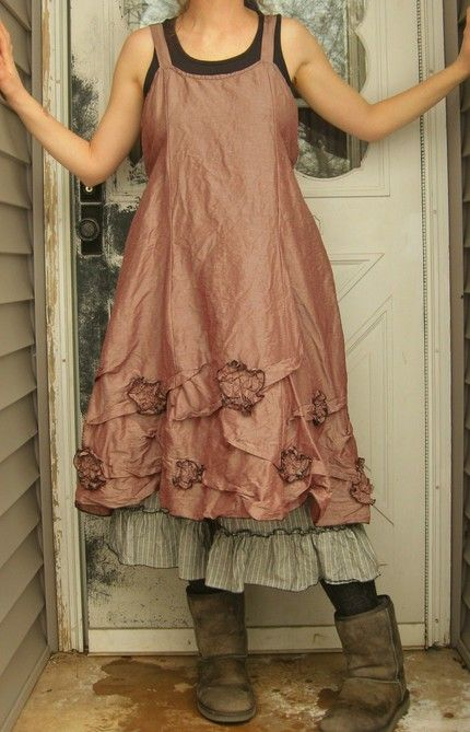 I love the soft oversize boots paired with a feminine dress.     Silk Flowers and Scrunches Dress M   by sarahclemensclothing on Etsy