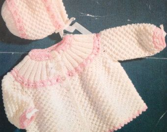 198d8969152d baby matinee coat and bonnet set vintage baby knitting pattern PDF ...