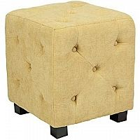 Duncan Small Button Tufted Cube Ottoman in Parisian Butter Yellow Velvet