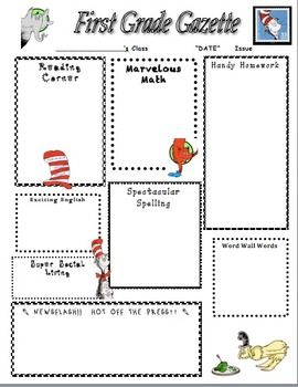 Dr Seus Home Learning Newsletter Classroom Theme Essay