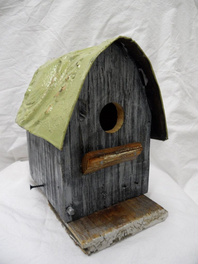 Barn Birdhouse Painted Grey And White Adorned With An