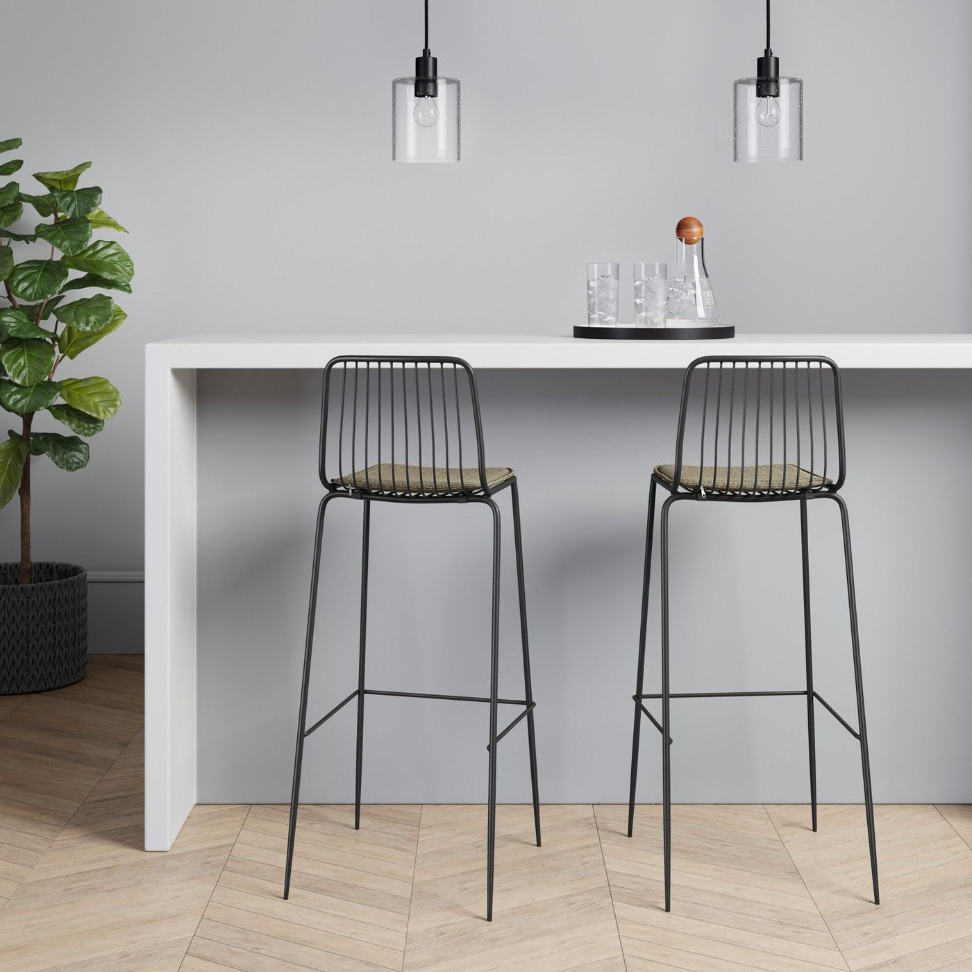 Set Of 2 Sodra Square Seat Wire Barstool Project 62 Image 2