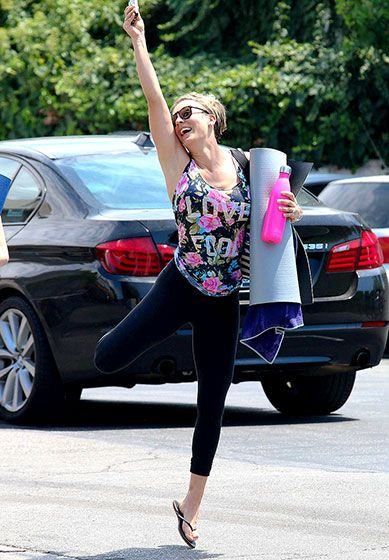 They get happy after hitting the gym! Kaley Cuoco jumped for joy after a yoga class in L.A