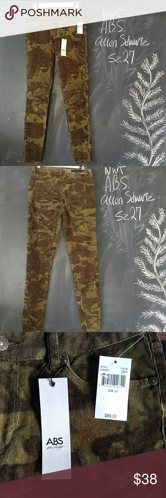 .B.S Allen Swartz Camo Corduroy Skinny Pants 27 NWT A.B.S. Allen Swartz camo pants.  Skinny style.  Green camo pattern.  Corduroy Cotton spandex material. Waist 27-28 in. Inseam 29 in. Soft thin lined cords. Excellent, new condition.     Smoke and Pet free environment.  No trades. Please read all description for details. ABS Allen Schwartz Pants