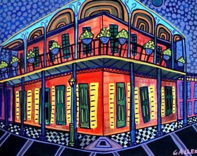 New Orleans Art Print Poster Painting French Quarter Mardi