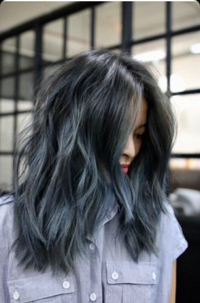 Cool Toned Blue Grey Black Hair Denim Hair Hair Color Blue