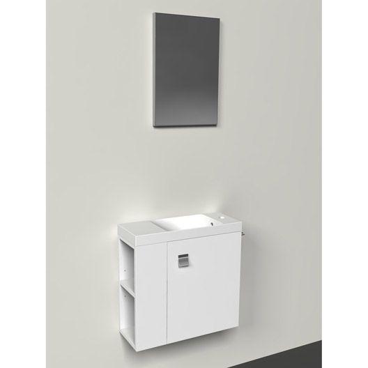 Meuble lave-mains avec miroir Slim, blanc blanc n°0 wc deco