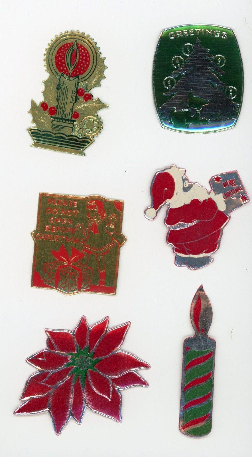 6 Vintage Die Cut Foil Gummed Stickers Christmas Seals Graphics Santa Claus 2   eBay