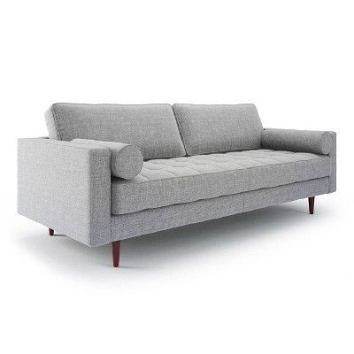 Bloomfield Mid   Century Modern Sofa With Bolster Pillows   Gray   Aeon :  Target