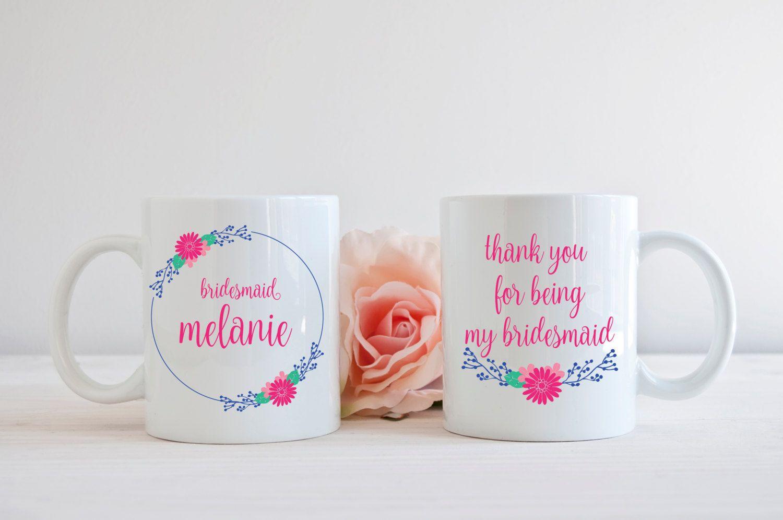 Wedding dress cups  Bridesmaid Coffee Mug Thank You For Being My Bridesmaid Coffee Cup