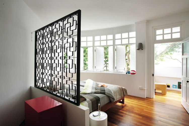 The Customised Headboard Fashioned From An Old Window Grille Is A Conversation Piece That Also Adds