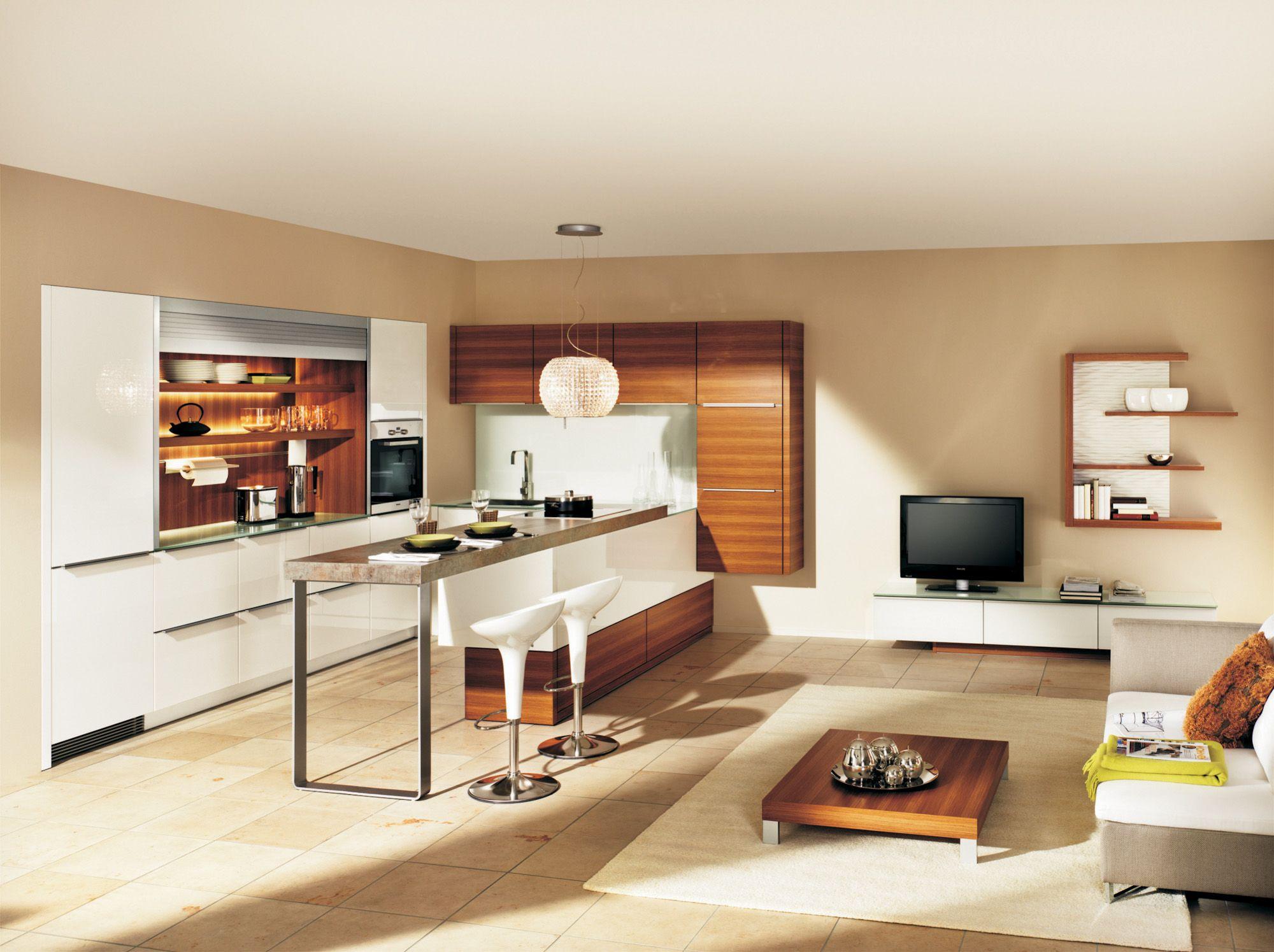 Küche | Lack und Holz | modern | grifflos | klare Formensprache ...