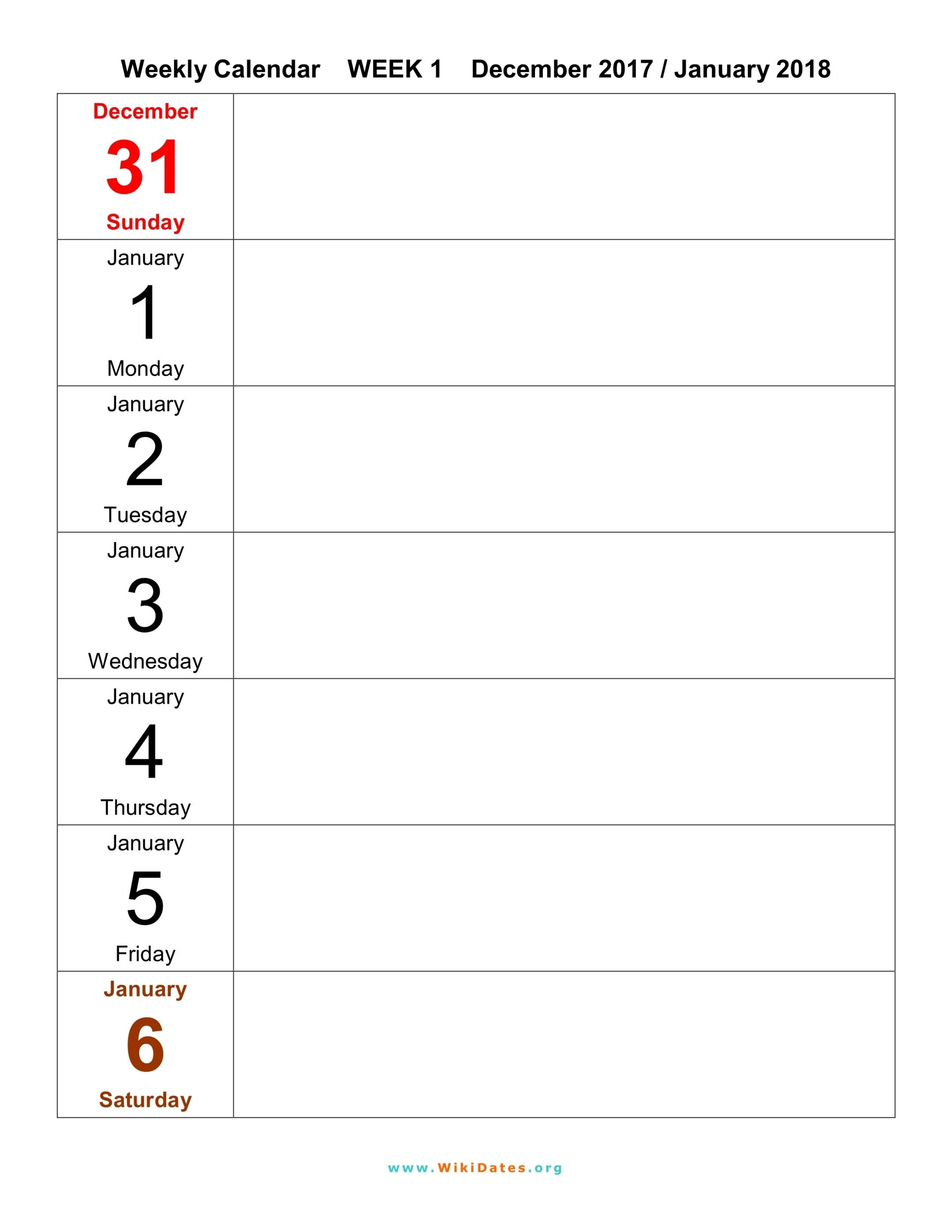 Weekly Calendar  Template   Organization Hacks For