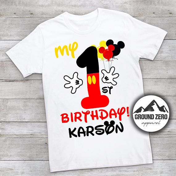 Mickey Mouse 1st Birthday Shirt Personalized With Name And