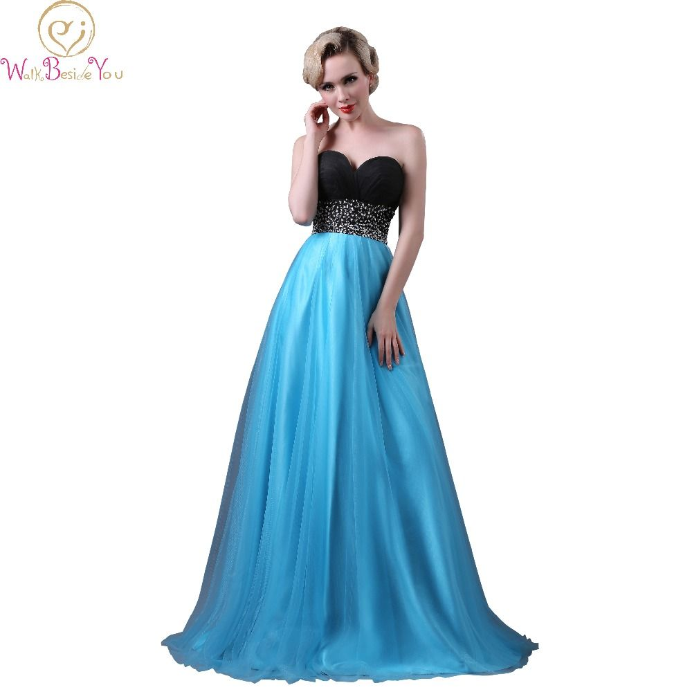 Walk beside you real picture black and blue evening dresses
