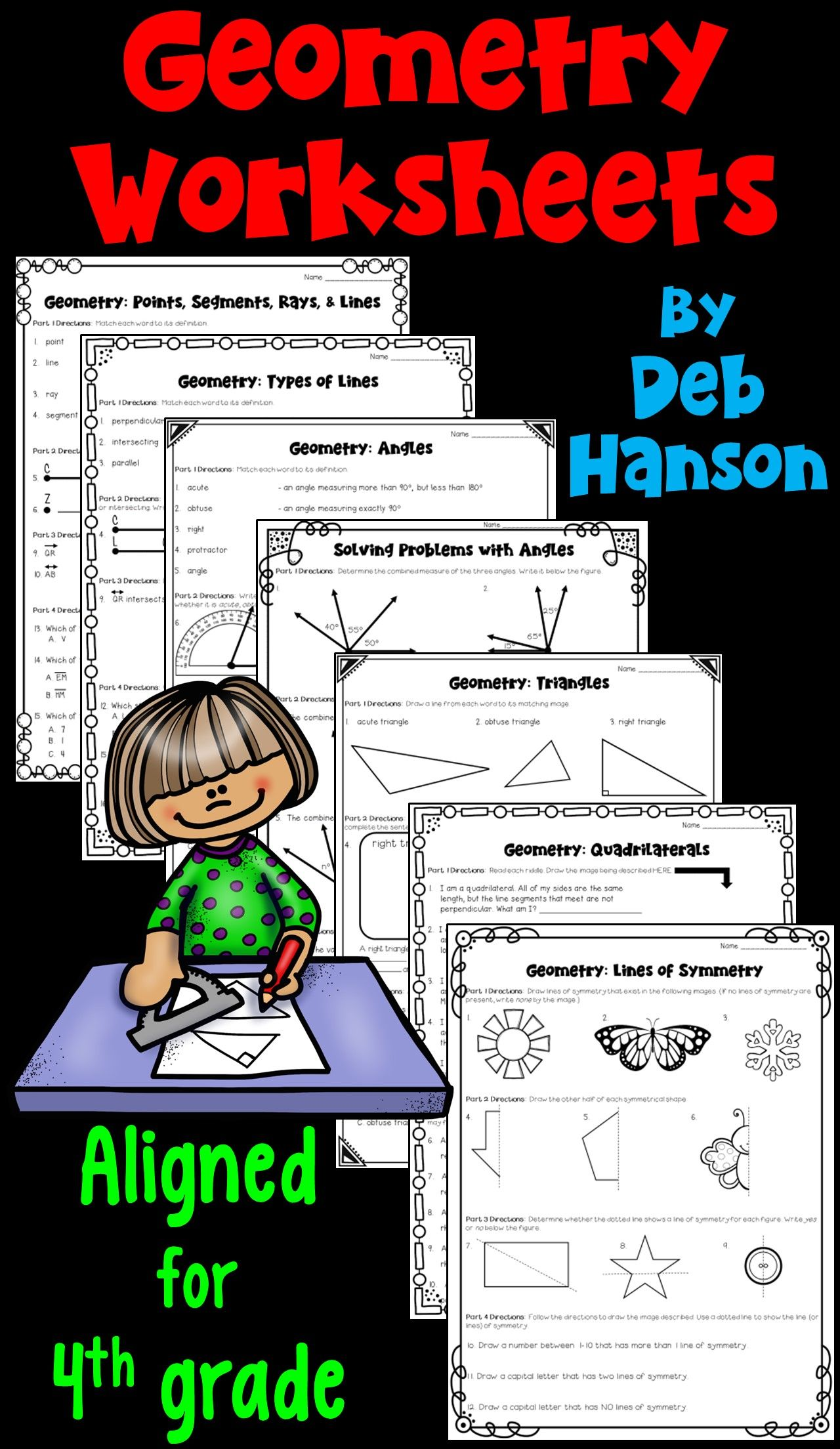 small resolution of Geometry Worksheets for 4th grade! This set of 7 worksheets focus on lines