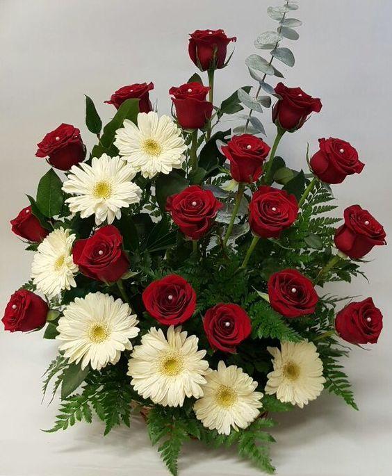 Rosas Vermelhas E Gerberas Brancas Arranjos De Flores Naturais