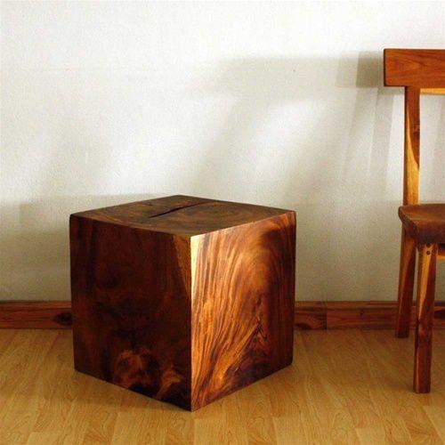 Sustainable Monkey Pod Wood Cube End Table 18 X